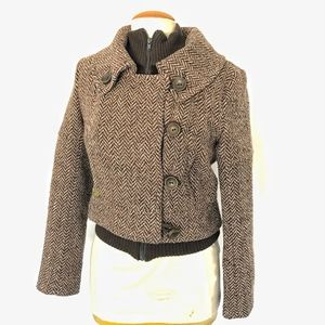 Soia & Kyo cropped herringbone Wool blend jacket M